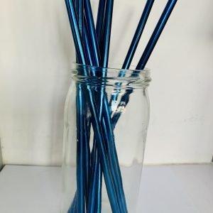 Pailles inox droites bleue