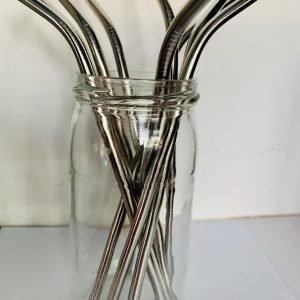 Pailles inox coudées silver